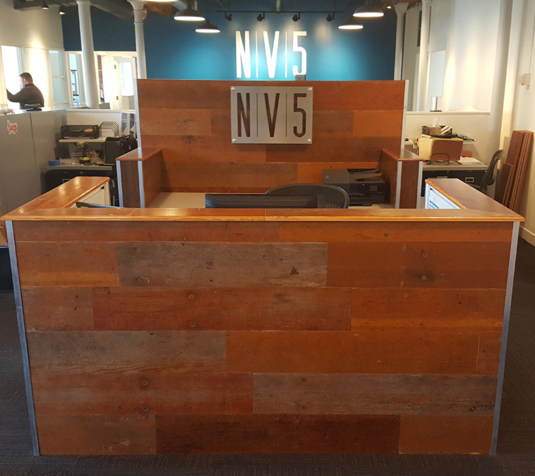 Pioneer Millworks Reclaimed Bleacher Board Recption Desk
