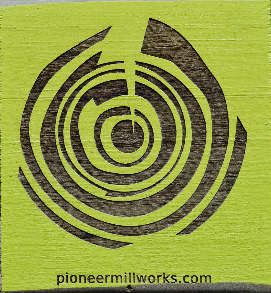 Pioneer Millworks Etching on Reclaimed Wood with Custom Green Paint