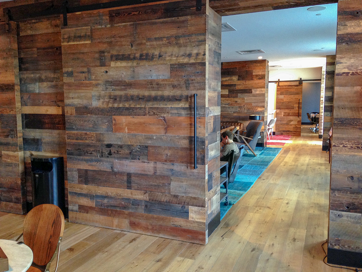 Pioneer Millworks American Prairie Brown Board used as interior paneling in a Brooklyn, NY aparement building.