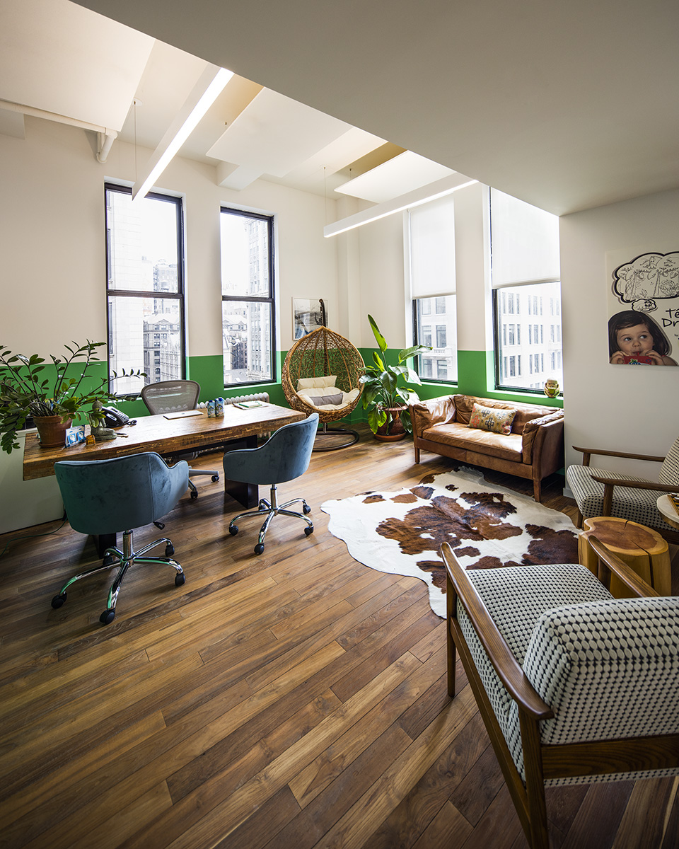 Pioneer Millworks reclaimed Indonesian Teak, Wire Brushed with custom color hardwax oil finish in Vita Coco, NYC.