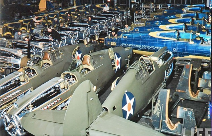 Aircraft assembly at Curtiss-Wright factory