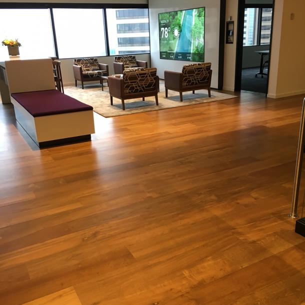 Reclaimed Teak wood flooring in an office lobby in Seattle, WA