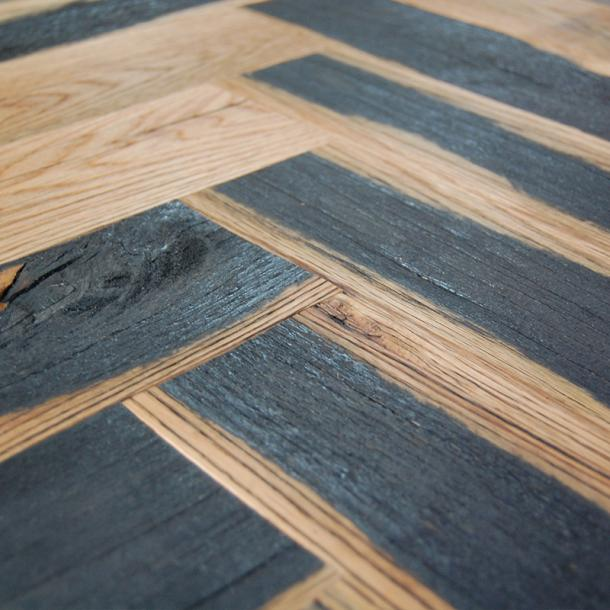 Pioneer Millworks Reclaimed Wood Flooring, Paneling, and Siding Black and Tan Oak—50/50