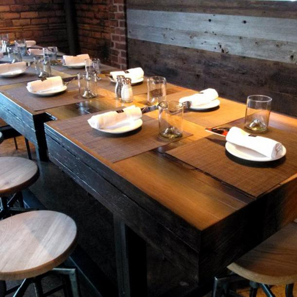 Pioneer Millworks Reclaimed Tables, Counter, and Custom Fixtures