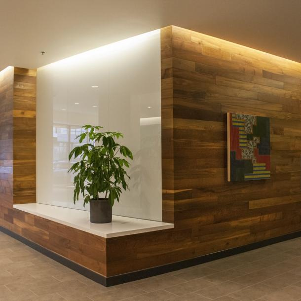 Reclaimed Teak in the lobby of The Osprey–Block 37 in Portland, OR.