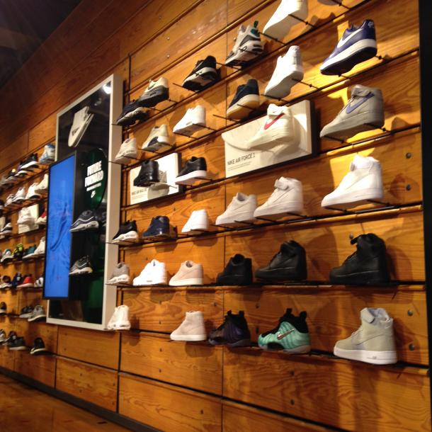 Reclaimed Bleacher Boards used as a retail display in this sporting goods store in Chicago.