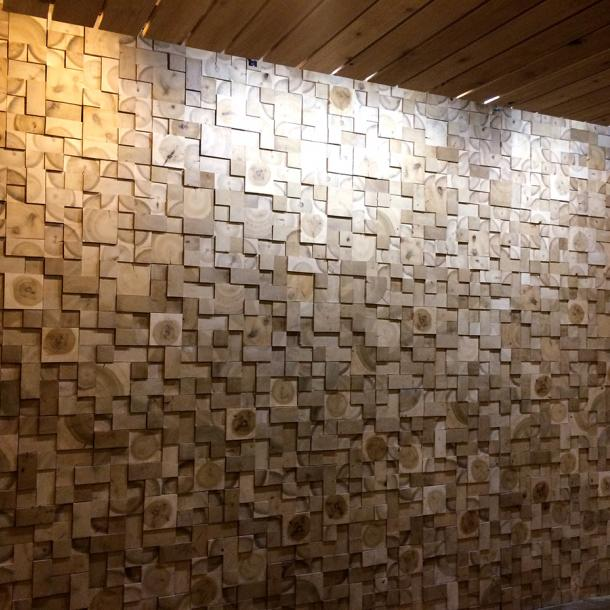 End blocks of Poplar & Basswood create a marvelous texture used in this curved dimensional wall at Village Gate, Rochester, NY.