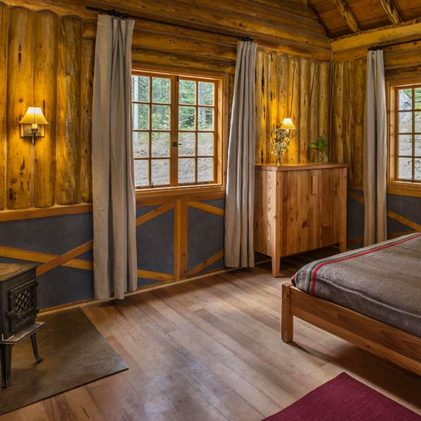 Minam River Lodge in the heart of Oregon's Eagle Cap Wilderness featuring Reclaimed Cherry Vat Stock flooring. Photo by Evan Schneider.