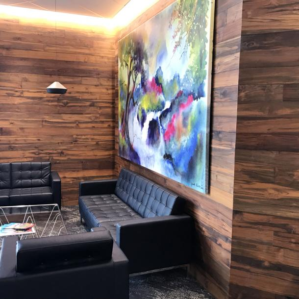 Reclaimed Indonesian Teak Bright wall paneling in an office in Federal Way, WA