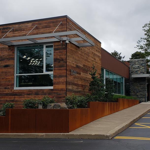 Shou Sugi Ban Shallow Char clads the outside of this office building in Pittsford, NY.
