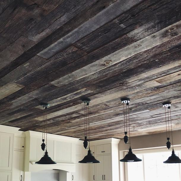 American Prairie Weathered Grey reclaimed wood ceiling