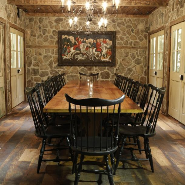 Reclaimed Settlers Plank Oak flows throughout dining areas in The Barrow House while Reclaimed naturally textured Mushroom Boards clad the ceiling bringing added dimension to various rooms.