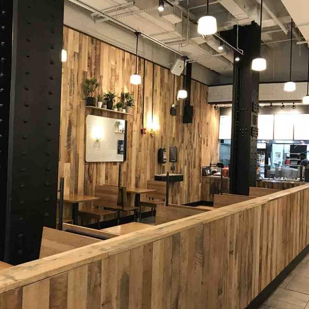 Pioneer Millworks Mixed Hardwoods Settlers' Plank in the Bryant Park location
