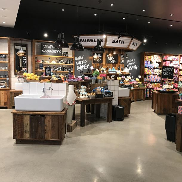 Pioneer Millworks American Prairie Brown Board in LUSH retail store in Natick, MA.