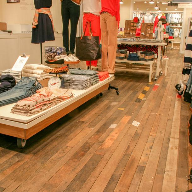 Pioneer Millworks Original Foundry Maple used as flooring in the Madewell store, Seattle, Washington.