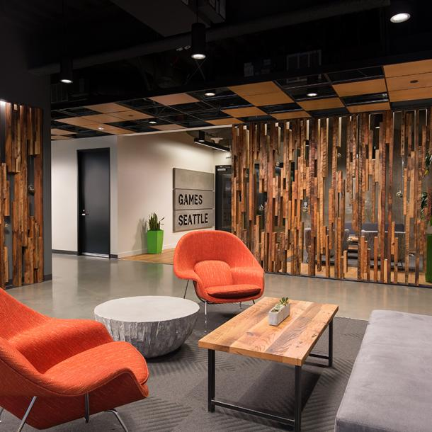 Inside this Bellevue office is a slat wall created from as found Douglas Fir joists with skip planed patina. (c) Clearly O'Farrell Photography.