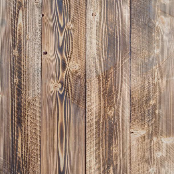 Pioneer Millworks sustainable wood--Shou Sugi Ban--Shallow Char--Charred larch wood for paneling and siding