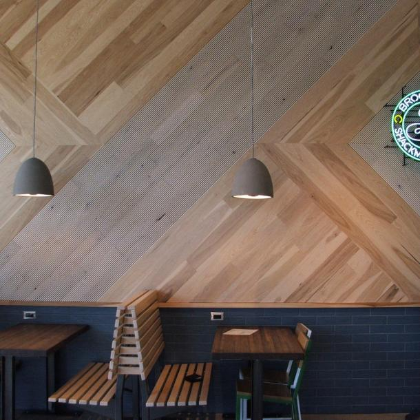 Pioneer Millworks Modern Farmhouse–Clean Hickory and Raked Black & Tan–Tan Wall Paneling.