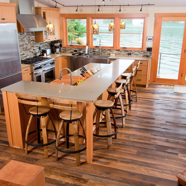 Pioneer Millworks Settlers' Plank Oak reclaimed floor in a private Oregon residence