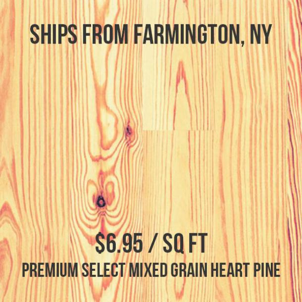Premium Select Mixed Grain Heart Pine Flooring—154 sq ft—Unfinished