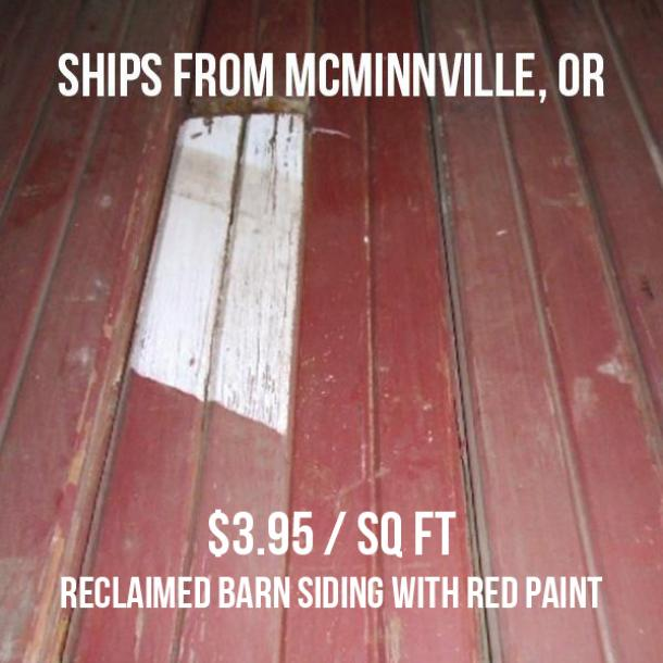 Pioneer Millworks Reclaimed Barn Siding with Red Paint and V-groove--$3.95/sq ft--FOB McMinnville, OR