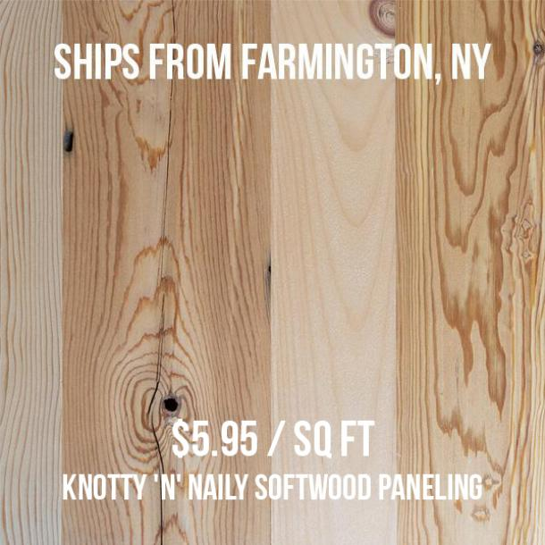Pioneer Millworks--Knotty 'N' Naily Softwood Paneling--$5.95/sq ft--FOB Farmington, NY