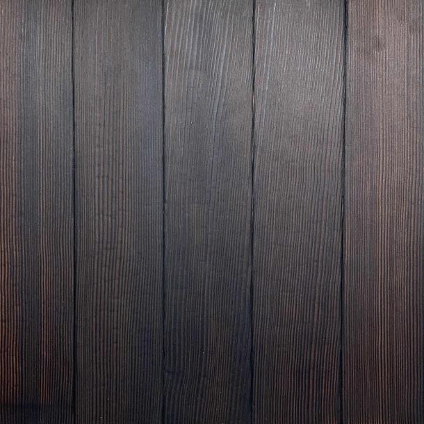 Shou Sugi Ban Douglas Fir Carbon | 1 by Pioneer Millworks. Charred wood siding and paneling that is burned, brushed once, and coated with an exterior oil