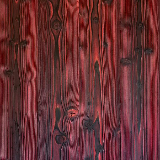 Shou Sugi Ban Larch Ember by Pioneer Millworks. Charred wood siding and paneling that is burned, brushed twice, and coated with an exterior oil