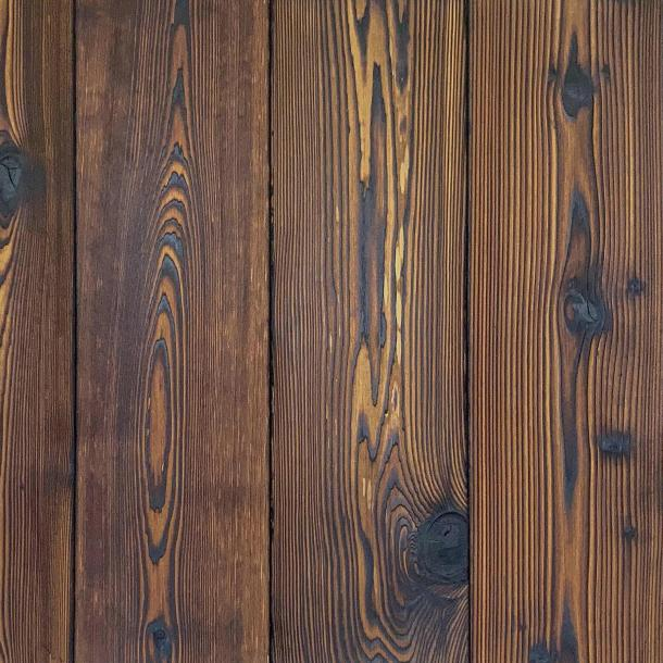 Shou Sugi Ban Western Red Cedar Toasted | 2 by Pioneer Millworks. Charred wood siding and paneling that is burned, brushed twice, and coated with an exterior oil