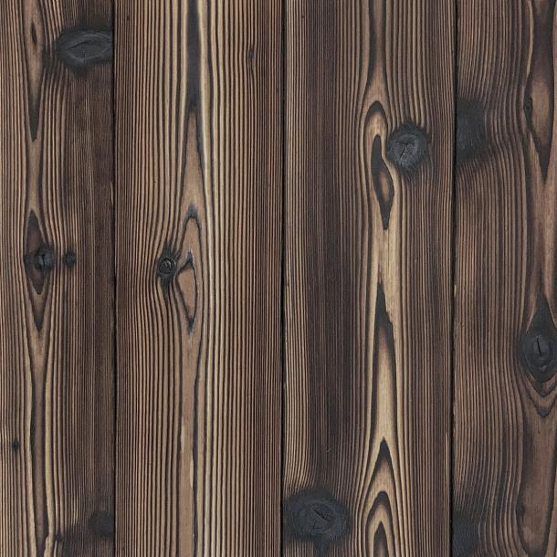 Shou Sugi Ban Western Red Cedar Tiger's Eye by Pioneer Millworks. Charred wood siding and paneling that is burned, brushed twice, and coated with an exterior oil