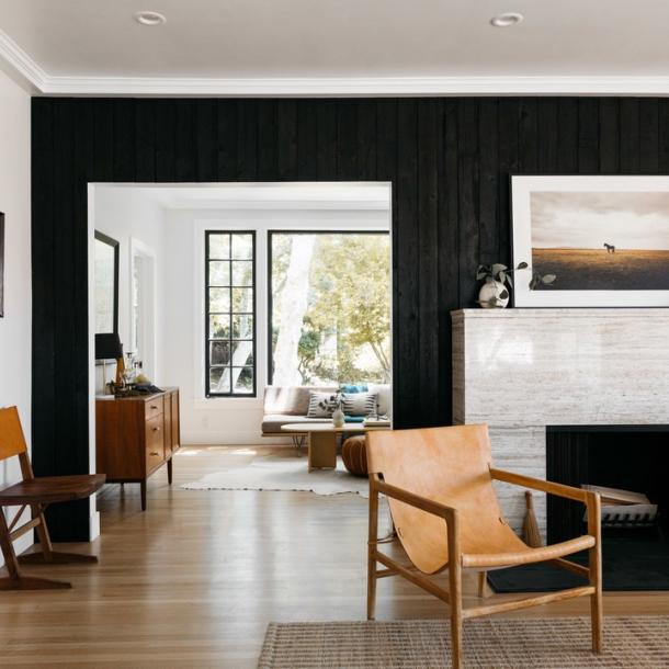 Pioneer Millworks Larch Deep Char wall paneling in a private residence in Los Angeles, CA.