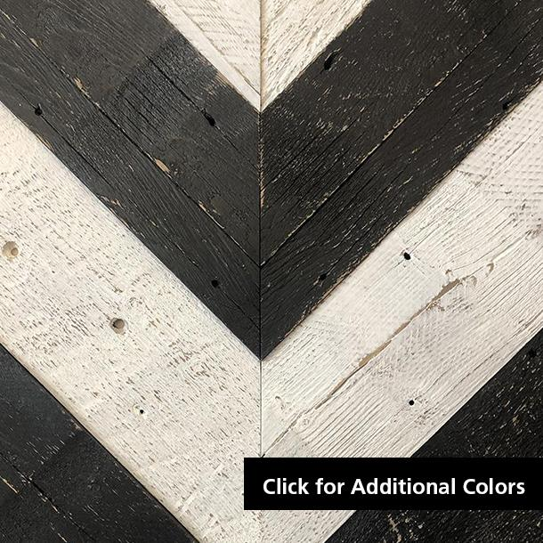 Pioneer Millworks reclaimed wood--American Prairie--Faux Painted--Black and White Chevron