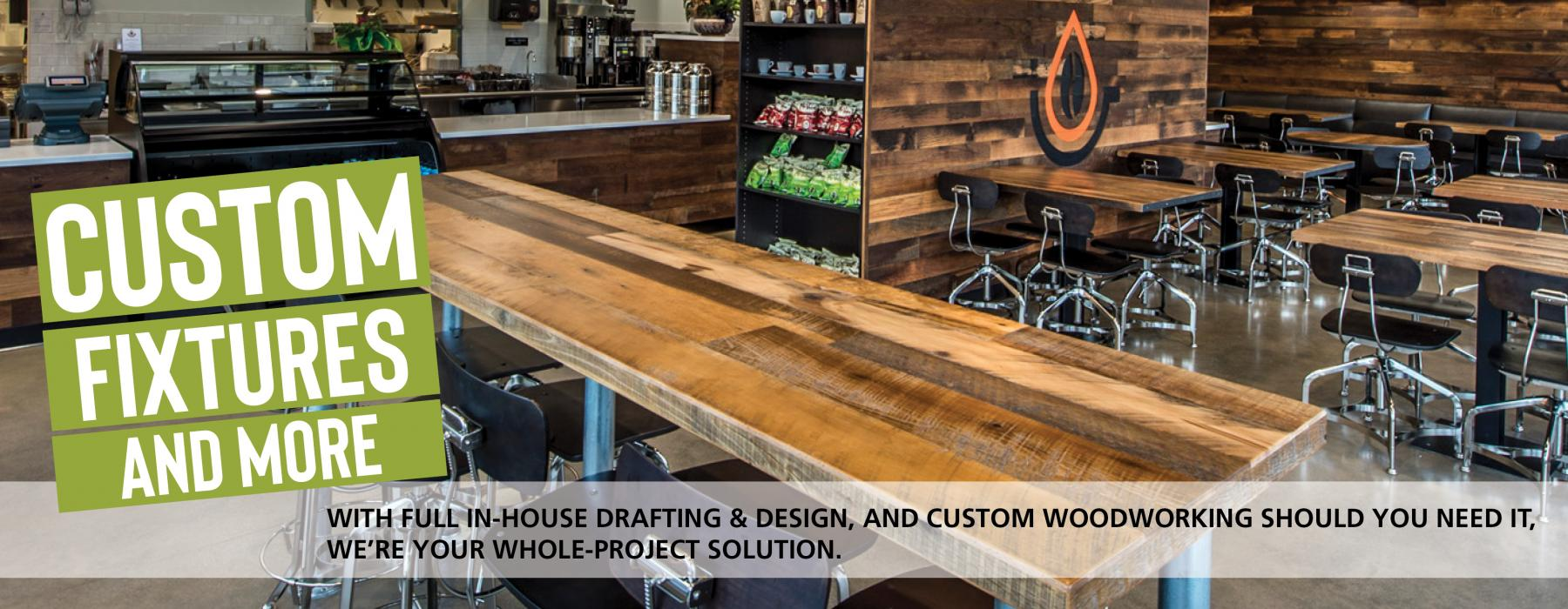 Pioneer Millworks Reclaimed Wood Tables, Counters, and Custom Fixtures