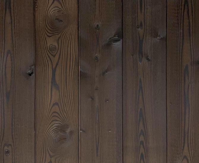 Shou Sugi Ban Larch Undressed | 1 by Pioneer Millworks. Charred wood siding and paneling that is burned, brushed once, and left unfinished